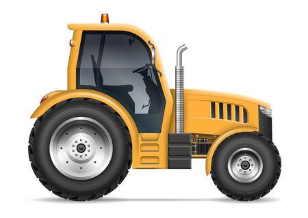 Trattore agricolo giallo con vista laterale isolato su sfondo bianco. Tutti gli elementi nei gruppi su livelli separati per una facile modifica e ricolorazione Vettoriali