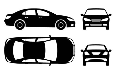 Car silhouette on white background. Vehicle icons set view from side, front, back, and top Illustration