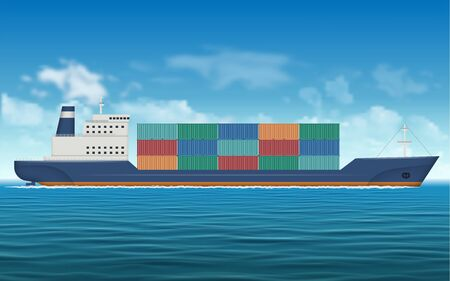 Cargo ship carrying containers by the sea. Logistics and transportation vector background Stock Illustratie