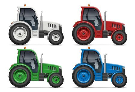Agricultural tractor icons with side view isolated on white background. All elements in the groups on separate layers for easy editing and recolor Stock Illustratie