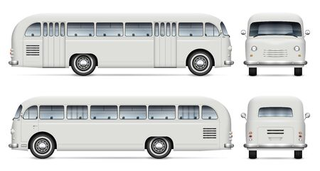 Retro bus vector mockup on white background view from side, front, back. All elements in the groups on separate layers for easy editing and recolor Illustration