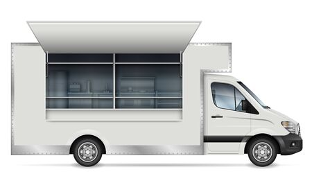 Food truck vector mockup for vehicle branding, advertising, corporate identity. Isolated template of mobile kitchen van side view on white background. All elements in the groups on separate layers Stock Illustratie