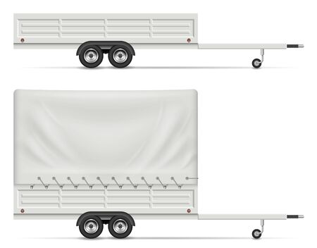 Small car trailer side view isolated on white background. All elements in the groups on separate layers for easy editing and recolor Stock Illustratie
