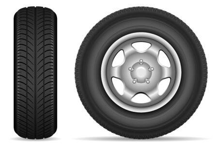 Pneumatici per auto isolati su sfondo bianco illustrazione vettoriale Vettoriali