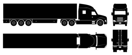 Semi trailer truck silhouette on white background. Vehicle icons set view from side, front, back, and top Stock Illustratie