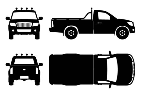 Pickup truck silhouette on white background. Vehicle icons set view from side, front, back, and top