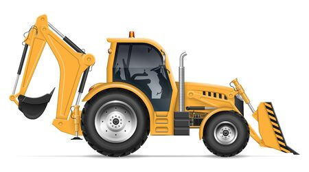 Backhoe loader view from side isolated on white background. Construction vehicle vector template, All elements in the groups on separate layers for easy editing and recolor