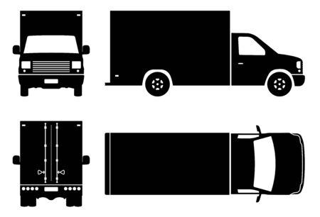 Silhouette de van fort sur fond blanc. Les icônes du véhicule définissent la vue latérale, avant, arrière et supérieure