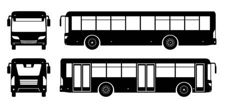 City bus silhouette on white background. Vehicle icons set view from side, front, and back