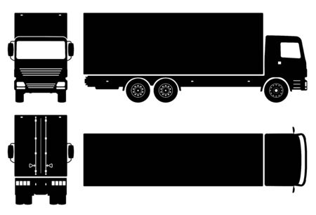 Box truck silhouette on white background. Vehicle icons set view from side, front, back, and top Stock Illustratie