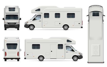 車両ブランディング、企業アイデンティティのための白のレクリエーション車両ベクトルモックアップ。側面、前面、背面、および上からのビュー。編集や色変更を簡単に行うための、別々のレイヤー上のグループ内のすべての要素。 ベクターイラストレーション