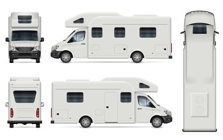 Recreational vehicle vector mockup on white for vehicle branding, corporate identity. View from side, front, back, and top. All elements in the groups on separate layers for easy editing and recolor.