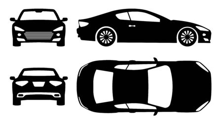 Sports car silhouette on white background. Vehicle icons set view from side, front, back, and top Stock Illustratie