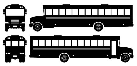 School bus silhouette on white background. Vehicle icons set view from side, front, and back