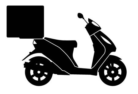 Delivery motorcycle silhouette on white background view from side
