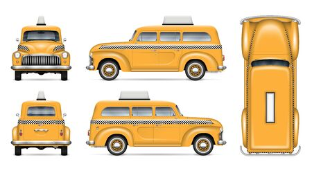Retro taxi cab vector mockup on white background for vehicle branding, corporate identity and advertisement. View from side, front, back, and top, easy editing and recolor
