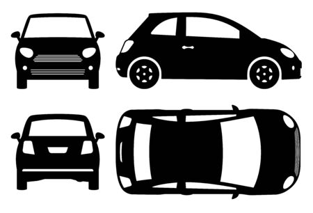 Small car silhouette on white background. Vehicle icons set view from side, front, back, and top