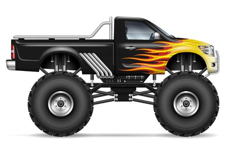 Black monster truck with fire stripes side view. All elements in the groups on separate layers