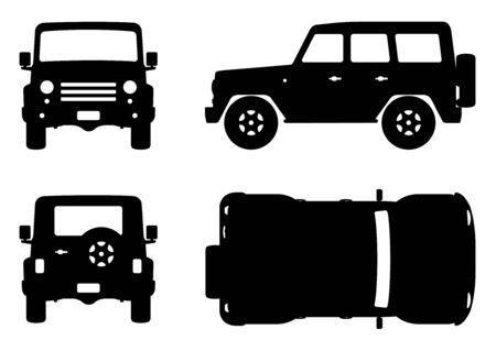 Geländewagen-Silhouette auf weißem Hintergrund. Fahrzeugsymbole legen die Ansicht von der Seite, von vorne, von hinten und von oben fest Vektorgrafik