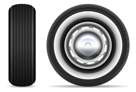 Vintage car tires isolated on white background vector illustration