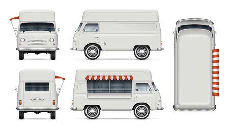 Retro-Food-Truck-Vektormodell auf Weiß für Fahrzeugbranding, Werbung, Unternehmensidentität. Ansicht von der Seite, von vorne, von hinten, von oben. Alle Elemente in Gruppen auf separaten Ebenen zum einfachen Bearbeiten und Umfärben
