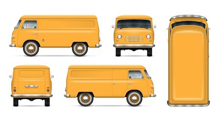 Old yellow van vector mockup on white background. Isolated minivan view from side, front, back and top. All elements in the groups on separate layers for easy editing and recolor Illustration