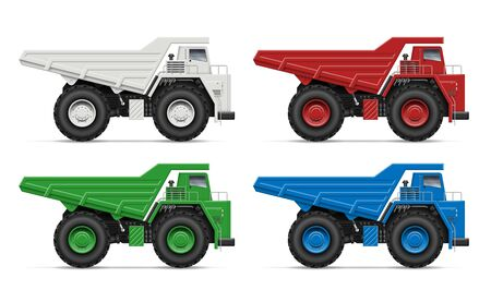 Quarry dump trucks view from side isolated on white background. Construction and mining vehicle vector template, all elements in the groups on separate layers for easy editing and recolor