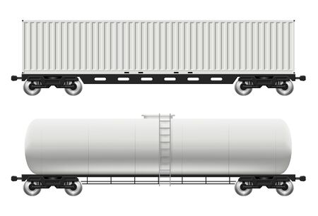 Railroad cars - tank and container view from side. Cargo train wagons on white background vector illustration. All elements in the groups on separate layers for easy editing and recolor