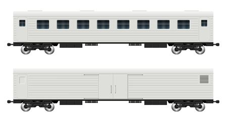 Railroad cars - cargo and passenger view from side. Train wagons on white background vector illustration. All elements in the groups on separate layers for easy editing and recolor Vetores