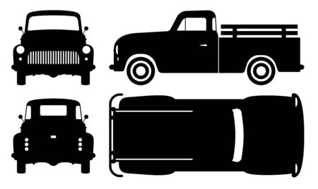 Vintage pickup truck silhouette on white background. Vehicle icons set view from side, front, back, and top
