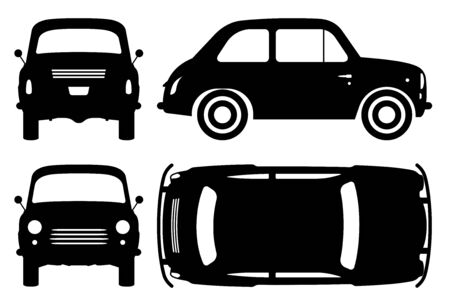 Vintage car silhouette on white background. Vehicle icons set view from side, front, back, and top Ilustracja