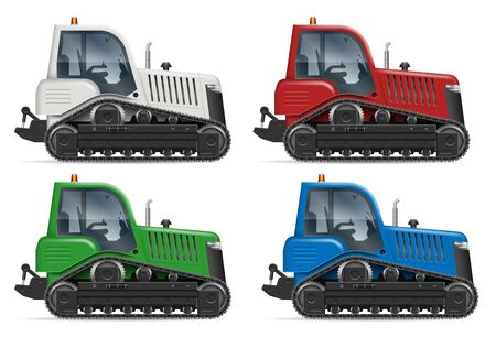 Tractor icons with side view isolated on white background. All elements in the groups on separate layers for easy editing and recolor  イラスト・ベクター素材
