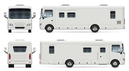 Recreational vehicle vector mockup on white for vehicle branding, corporate identity. View from side, front, back. All elements in the groups on separate layers for easy editing and recolor.  イラスト・ベクター素材