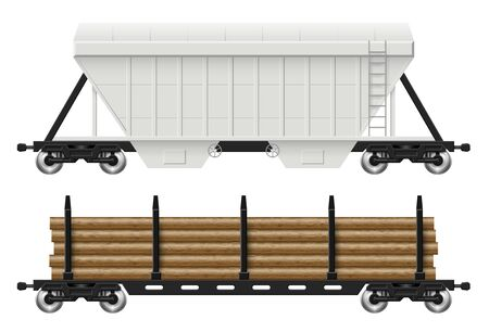 Railroad cars - hopper and log with view from side. Cargo train wagons on white background vector illustration. All elements in the groups on separate layers for easy editing and recolor Ilustração