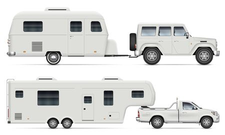 Car pulling RV camping trailer on white background. Side view of fifth wheel camper and truck. Isolated pickup with recreational vehicle vector illustration. Ilustração