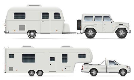 Coche tirando de remolque de camping RV sobre fondo blanco. Vista lateral de la caravana y el camión de quinta rueda. Recogida aislada con ilustración de vector de vehículo recreativo.
