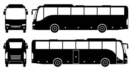 Tourist bus silhouette on white background. Vehicle icons set view from side, front, and back