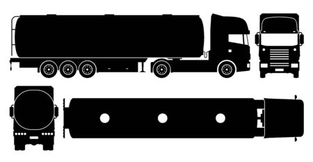 Tanker truck silhouette on white background. Vehicle icons set view from side, front, back, and top
