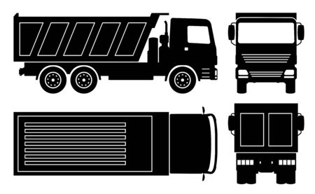 Dump truck silhouette on white background. Vehicle icons set view from side, front, back, and top  イラスト・ベクター素材