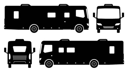 RV camper van silhouette on white background. Vehicle icons set view from side, front and back