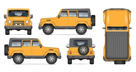 Offroad car vector mockup for vehicle branding, advertising, corporate identity. View from side, front, back, and top. All elements in the groups on separate layers for easy editing and recolor. Illustration