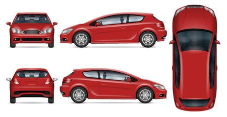 Red hatchback car vector mockup on white for vehicle branding, corporate identity. View from side, front, back, and top. All elements in the groups on separate layers for easy editing and recolor. Illustration