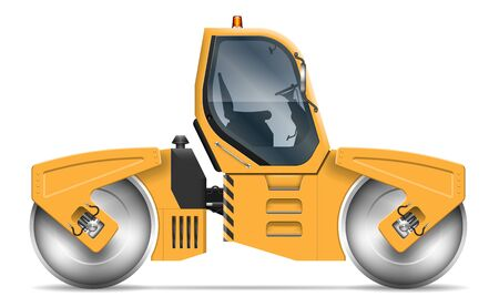 Road roller view from side isolated on white background. Construction and road-building vehicle vector template, all elements in the groups on separate layers for easy editing and recolor