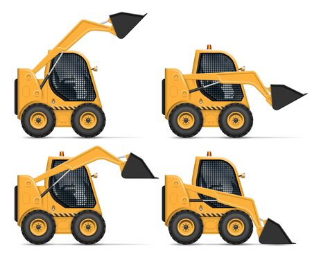 Skid steer loader view from side isolated on white