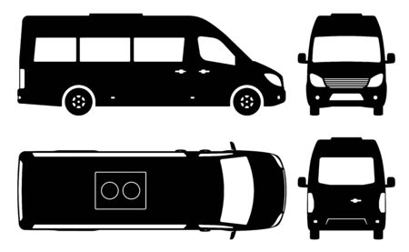 Passenger van or minibus silhouette on white background. Vehicle icons set view from side, front, back and top