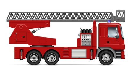 Fire truck with ladder view from side isolated on white background. Rescue vehicle vector template, all elements in the groups on separate layers for easy editing and recolor Vettoriali