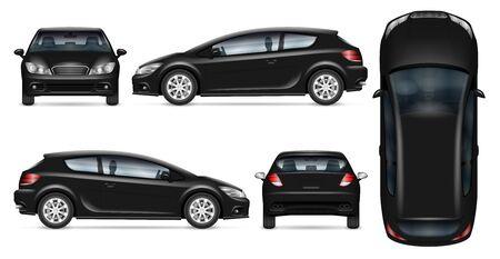 Maquette vectorielle de voiture à hayon noire sur blanc pour la marque de véhicule, identité d'entreprise. Vue de côté, de face, de dos et de dessus. Tous les éléments des groupes sur des calques séparés pour une édition et une recoloration faciles.