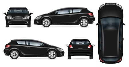 Black hatchback car vector mockup on white for vehicle branding, corporate identity. View from side, front, back, and top. All elements in the groups on separate layers for easy editing and recolor. Illustration
