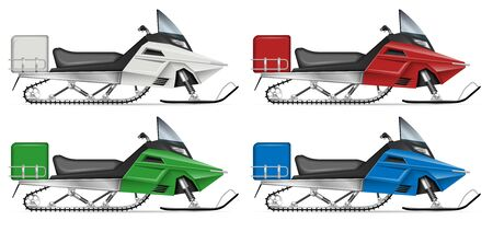 Snowmobile view from side isolated on white background. Winter sports vehicle vector template, all elements in the groups on separate layers for easy editing and recolor