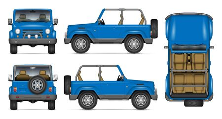 SUV convertible car vector mockup for vehicle branding, advertising, corporate identity. View from side, front, back, top. All elements in the groups on separate layers for easy editing and recolor Illustration